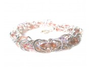 byzantine weave bracelet with peach crystal
