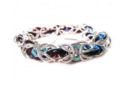 byzantine weave bracelet with ruby crsytal