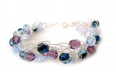 crochet wire bracelet - montana, powder blue, amethyst