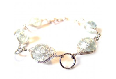 deco-style bracelet - clear cracked glass