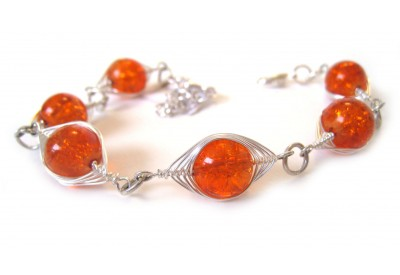deco-style bracelet - clementine cracked glass