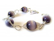 deco-style bracelet - mauve cat's eye