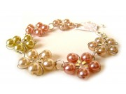 in bloom bracelet - ivory, dusky pink, olivine