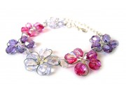 in bloom bracelet - lilac, deep amethyst, fuchsia