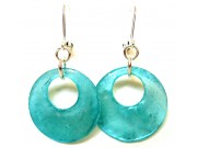 luminous capiz shell earrings - turquoise