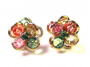 bezel-set crystal blossom earrings - multi-colour, gold rim
