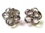bezel-set crystal blossom earrings - clear, silver rim