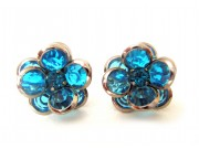 bezel-set crystal blossom earrings - teal, silver rim