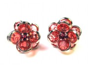 bezel-set crystal blossom earrings - magenta, silver rim