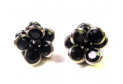 bezel-set crystal blossom earrings - black, silver rim