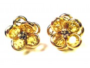 bezel-set crystal blossom earrings - jonquil, gold rim