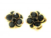 bezel-set crystal blossom earrings - black, gold rim