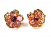bezel-set crystal blossom earrings - peach, gold rim