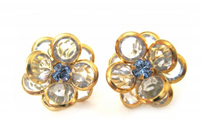 bezel-set crystal blossom earrings - periwinkle blue, gold rim
