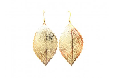 filigree leaf earrings - solid gold