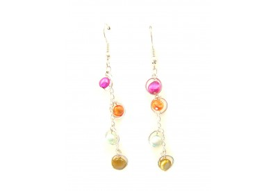 holly earrings - taupe, fuchsia, turquoise, amber pearls