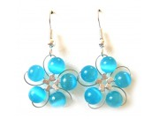 in bloom earrings - turquoise cat's eye