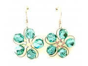 in bloom earrings - turquoise crystal