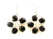in bloom earrings - black crystal