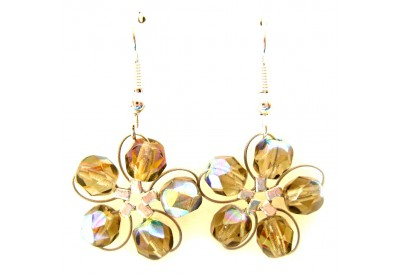 in bloom earrings - taupe crystal