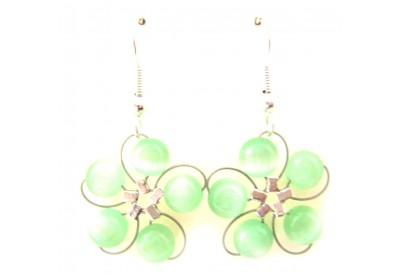 in bloom earrings - lime green cat's eye