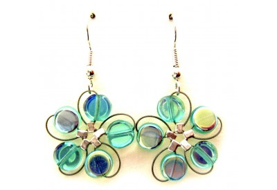 in bloom earrings - turquoise pressed glass