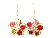 in bloom earrings -  amethyst pressed glass