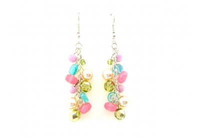 jumble earrings - pink, olivine, ivory, lilac, turquoise