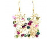 knit wire earrings - tourmaline chips