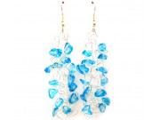 knit wire earrings - blue chips