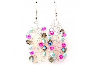 knit wire earrings - taupe, fuchsia , turquoise