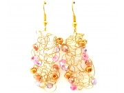 knit wire earrings - capri gold, pink