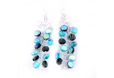 knit wire earrings - turquoise, montana