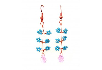 seed bead twist earrings - matte turquoise, pink