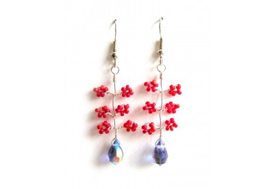 seed bead wire twist earrings - cherry red, tanzanite