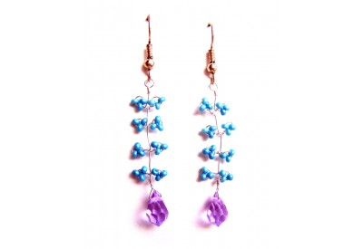 seed bead wire twist earrings - blue, violet