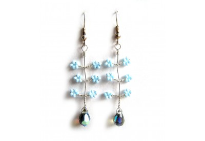 seed bead wire twist earrings - light blue, montana