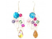 silver crochet earrings- fuchsia,tanzanite,erinte swarovski, pink pearl, blue zircon blossom, amber crystal drop