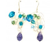 silver crochet earrings - erinte, pacific opal, blue zircon, amethyst crystal