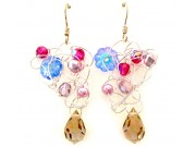 silver crochet earrings - pink, fuchsia, light sapphire, honey crystal drop