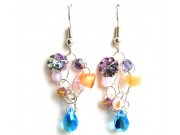 silver crochet earrings - pink opal, peach, aqua, amethyst