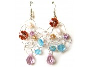 silver crochet earrings - sky blue, capri, ivory, gold, pink crystal drop