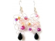silver crochet earrings - peach, gold, fuchsia, jet