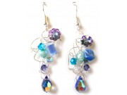 silver crochet earrings - blue, amethyst, teal