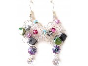 silver crochet earrings - grey chip, pink, metallic,olivine,amethyst, clear drop