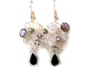silver crochet earrings - silver, pink, amethyst, clear, olivine, jet