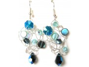 silver crochet earrings - montana, blue zircon, blue