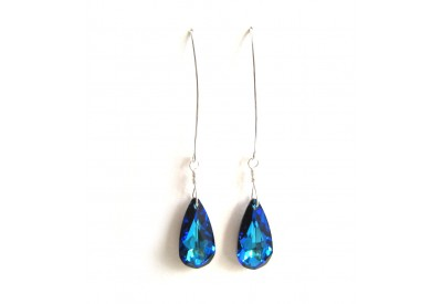 swarovski drop earrings - bermuda blue