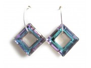 swarovski cosmic ring square earrings - vitrail light