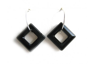 swarovski cosmic ring square earrings - jet